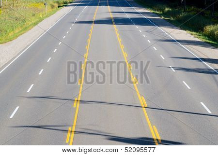 Empty Multi-lane Highway
