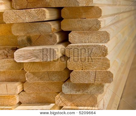 Sawed Wooden Boards Laid In A Heap.