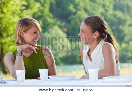 Female Friends Picknicking