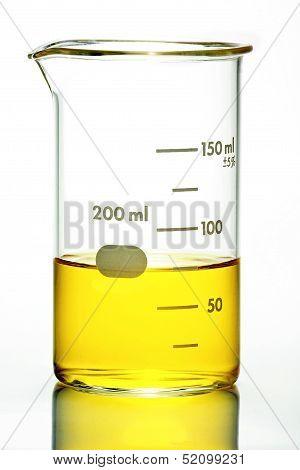 Beaker With Yellow Liquid On White
