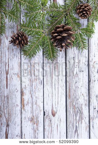 Christmas Fir Twig  On The Wooden Background