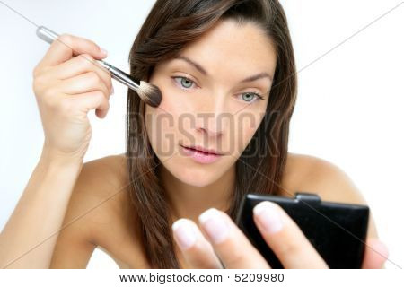 Beautiful Portrait Of Woman Makeup With Brush
