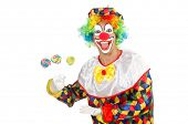 foto of clown face  - Clown with lollipops isolated on white - JPG