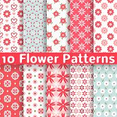 stock photo of rose flower  - 10 Different flower vector seamless patterns  - JPG