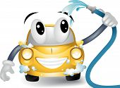 stock photo of car wash  - An Illustration of a Cartoon Car washing itself - JPG