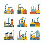 image of pipeline  - Industrial factory buildings icons set in flat design style - JPG