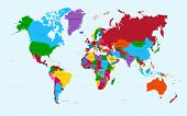 image of atlas  - World map colorful countries with text Atlas illustration file organized in layers for easy editing - JPG