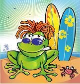 image of jamaican  - jamaican summer frog with surfboard  in  the beach - JPG