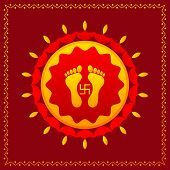 stock photo of shakti  - vector illustration of footprints of Goddess Lakshami on Diwali - JPG