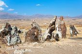 stock photo of megaliths  - megalithic standing stone of Zorats Karer  - JPG