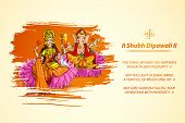 stock photo of lakshmi  - illustration of Goddess Lakshmi and Lord Ganesha in Diwali - JPG