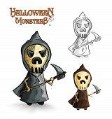 foto of grim-reaper  - Halloween monsters spooky cartoon grim reaper set - JPG