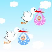 picture of mimicry  - storks carry babies on a background blue skyillustration a raster - JPG