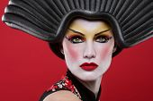 stock photo of geisha  - Modern Beauty Concept of a Geisha Girl - JPG
