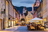 FUSSEN, GERMANY - SEPTEMBER 26: The main road September 26, 2013 in Fussen, Germany. The city was or