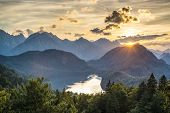 stock photo of bavarian alps  - Lake Alpsee in the Bavarian Alps of Germany - JPG
