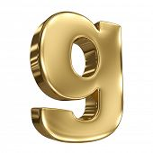 Letter g from gold solid alphabet