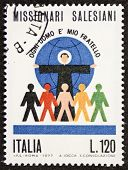 ITALY - CIRCA 1977: a stamp printed in Italy celebrates the Roman Catholic religious institute of th