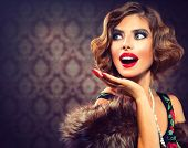 stock photo of mouth  - Retro Woman Portrait - JPG