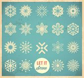 stock photo of winter season  - Snowflake winter set - JPG