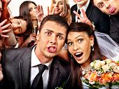 stock photo of banquet  - Bride and groom in photo - JPG