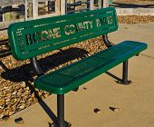 picture of burlington  - A green park bench in a park in Burlington - JPG