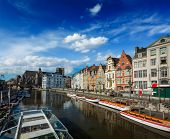 image of gents  - Travel Belgium medieval european city town background with canal - JPG