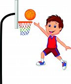 Cartoon boy playing basket ball