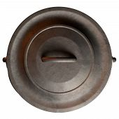 stock photo of afrikaner  - A top vew of an open and empty regular cast iron south african potjie pot with a steel handle on an isolated background - JPG
