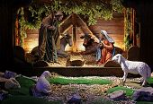 stock photo of donkey  - Native religious bible scene with Jesus birth - JPG