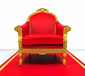 stock photo of throne  - King Throne Chair isolated on white background - JPG
