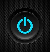 stock photo of controller  - Black button with blue power sign on carbon background - JPG