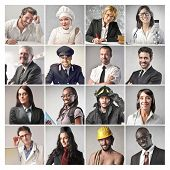 foto of differences  - mosaic of people doing different professions - JPG