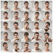 picture of think positive  - mosaic of young man expressing different emotions - JPG