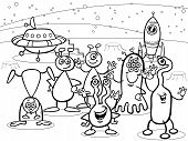 stock photo of starship  - Black and White Cartoon Illustrations of Fantasy Aliens or Martians Mascot Characters Group for Coloring Book - JPG