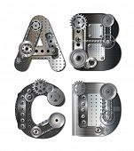 foto of letter d  - Vector mechanical alphabet of gears - JPG