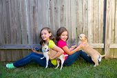 stock photo of chihuahua  - Twin sister girls playing with smartphone and chihuahua dog sitting on backyard - JPG