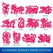 stock photo of zodiac  - Vector Traditional Chinese Paper Cutting of 12 Zodiacs - JPG