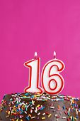 foto of sweet sixteen  - A number candle represents sixteen sweet years worth celebrating - JPG
