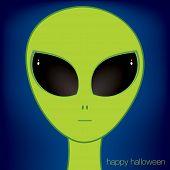 image of freaky  - Alien face Halloween card in vector format - JPG