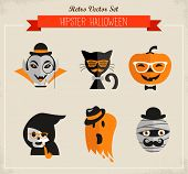 stock photo of funny ghost  - Happy Hipster Halloween set of icons and elements - JPG
