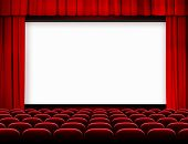 pic of cinema auditorium  - cinema screen with red curtains and seats - JPG