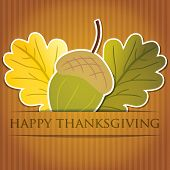 foto of acorn  - Acorn and leaf Thanksgiving card in vector format - JPG