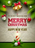 foto of xmas tree  - Vector Christmas Messages and objects on wrinkled paper background - JPG