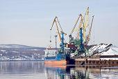 picture of coal barge  - Port in the Kola bay Barents sea - JPG