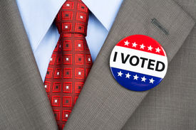 picture of lapel  - A businessman in a tan suit wearing his vote pin on his jacket lapel - JPG