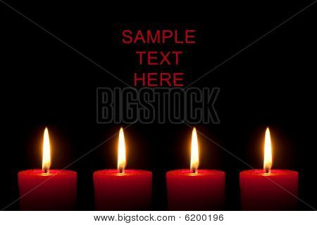 Four Red Candles, Black Background