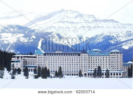 Chateau Lake Louise in Canadian Rocky mountains in winter