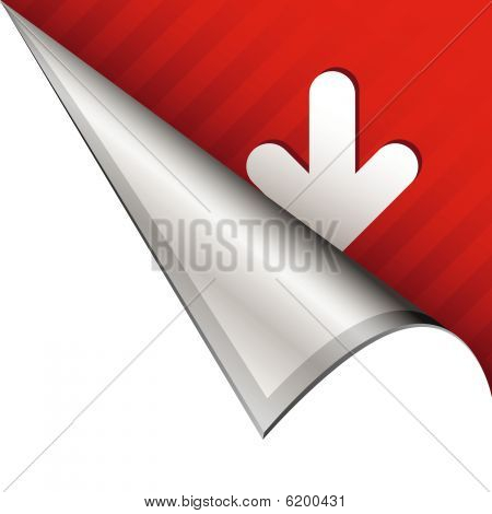 Down arrow on peeling corner tab