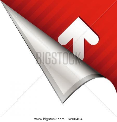 Up arrow on peeling corner tab